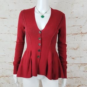 Free People gorgeous peplum button up sweater